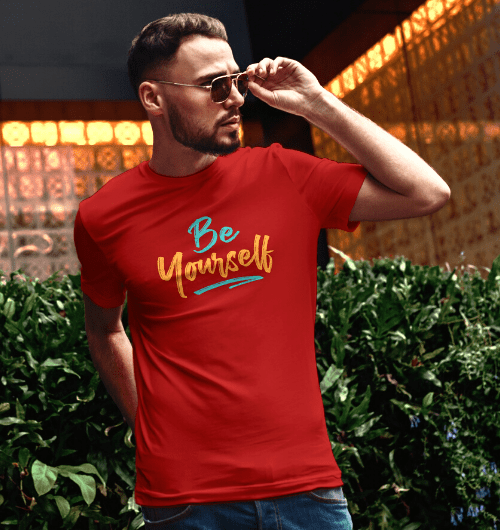 Be Yourself T-shirt for Guys in red