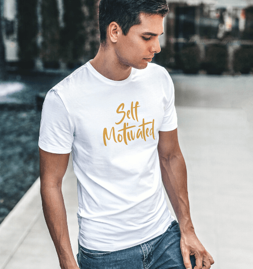 Self Motivated T Shirts For Men in white colour